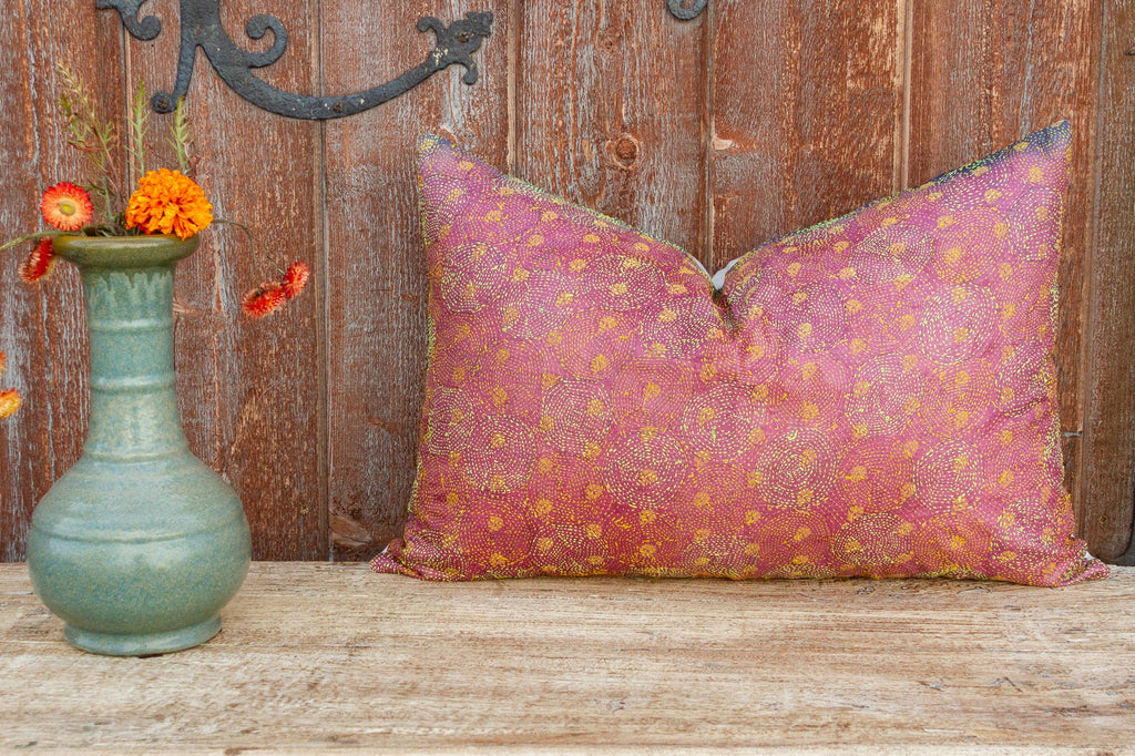 Cera Chakra Kantha Silk Pillow (Trade)