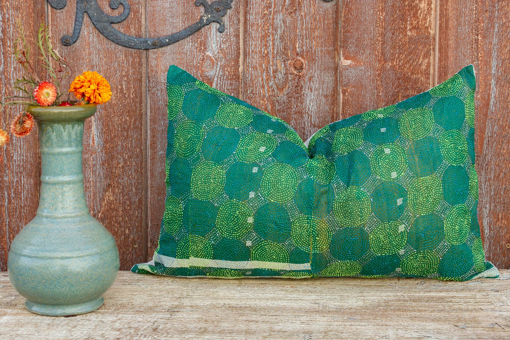 Green Chakra Kantha Silk Pillow (Trade)