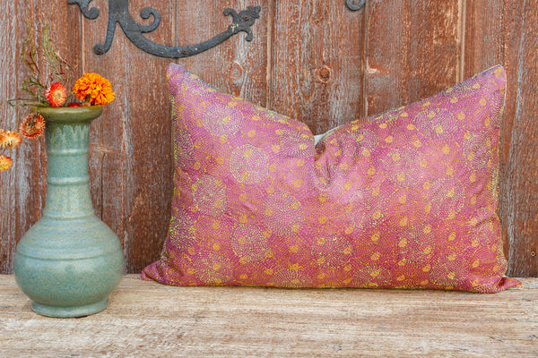 Holly Chakra Kantha Silk Pillow