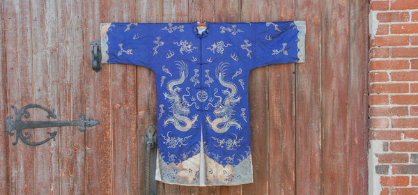 Royal Blue Silk Embroidered Dragon Kimono