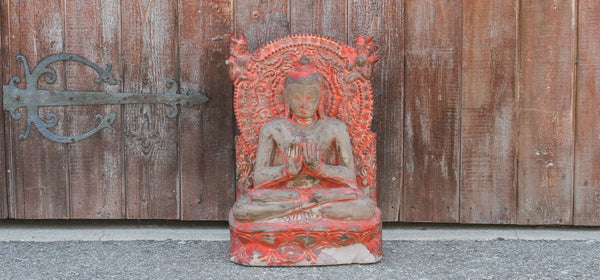 Early 19th Century Cambodian Seated Stone Buddha