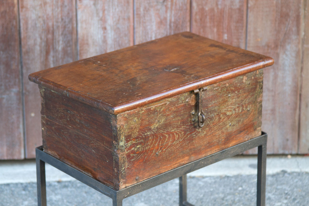 Anglo Indian Teak Cash Box on Stand