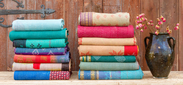 Traditional Bengal Kantha Throw