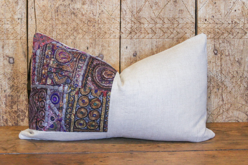 Lovely Metallic Embroidered Lumbar Pillow