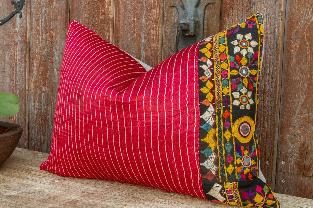Sabia Antique Mashru Tribal Lumbar Pillow (Trade)