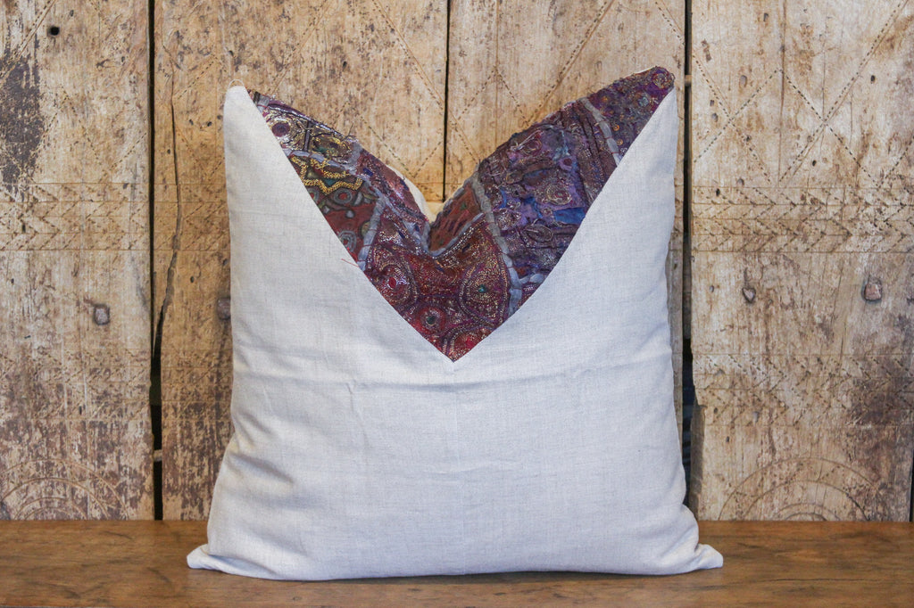Daha Metallic Embroidered Square Pillow