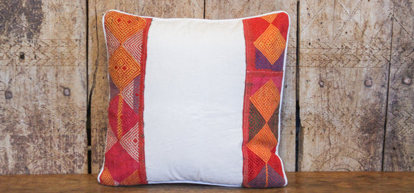 Orange Tribal Lace Pillow