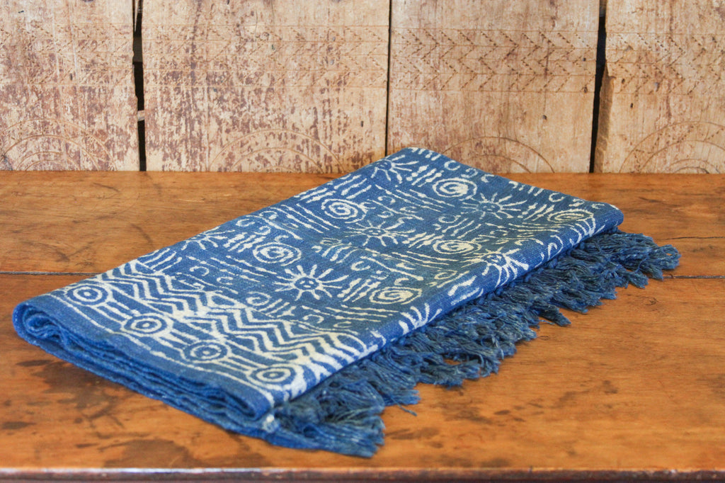 Tribal Indigo Batik Throw