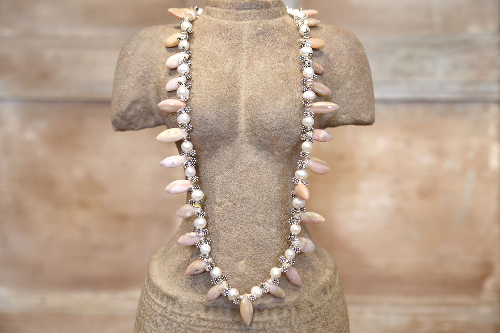Rhondonite Icicle Beaded Necklace