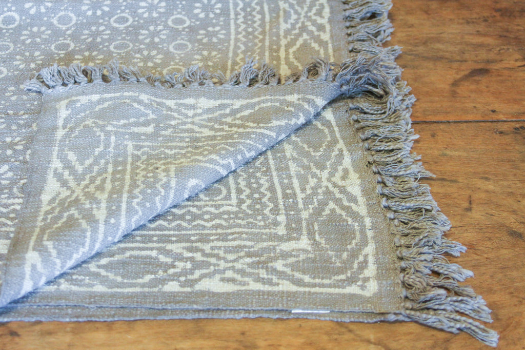 Geometric Floral Taupe Batik Throw