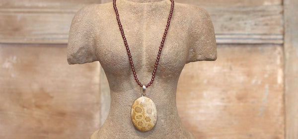 Fossil Coral and Garnet Necklace