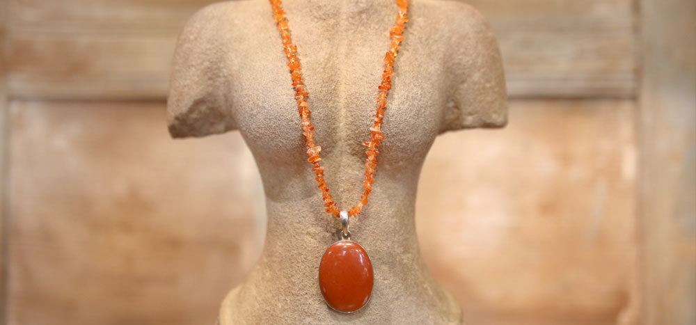 Stunning Red Jasper and Coral Necklace