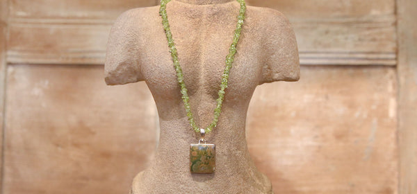 Rainforest Rhyolite & Peridot Necklace