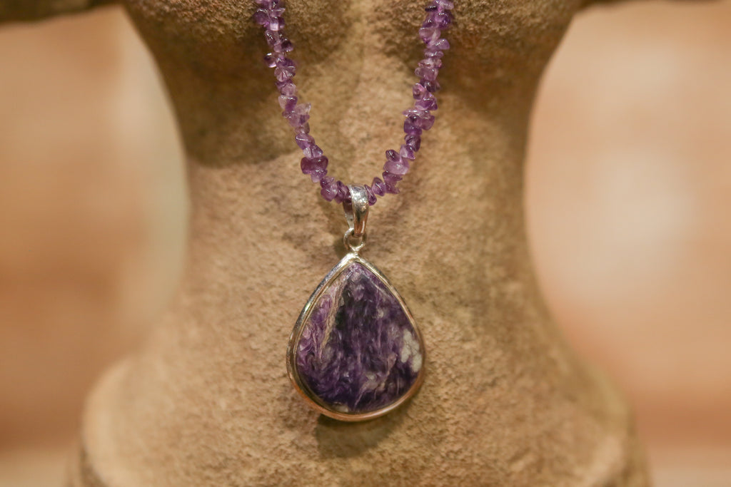Tear Drop Amethyst Pendant Necklace