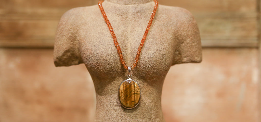 Tiger's Eye & Amber Necklace