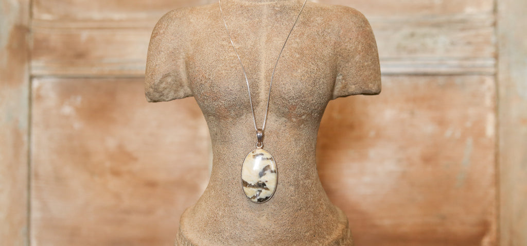 Brown Zebra Jasper Pendant with Silver Chain