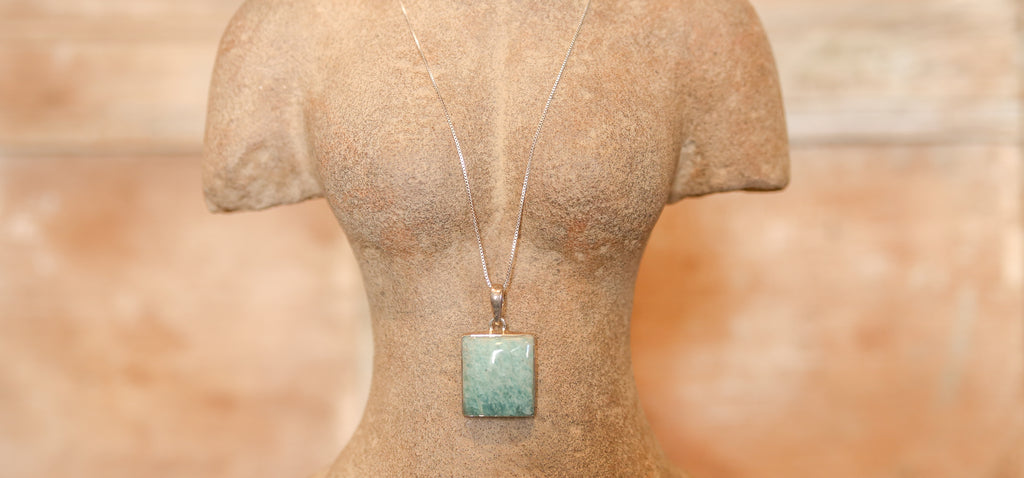 Amazonite Pendant with Silver Chain