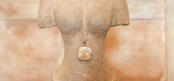 Beautiful Picture Jasper Pendant with Silver Chain
