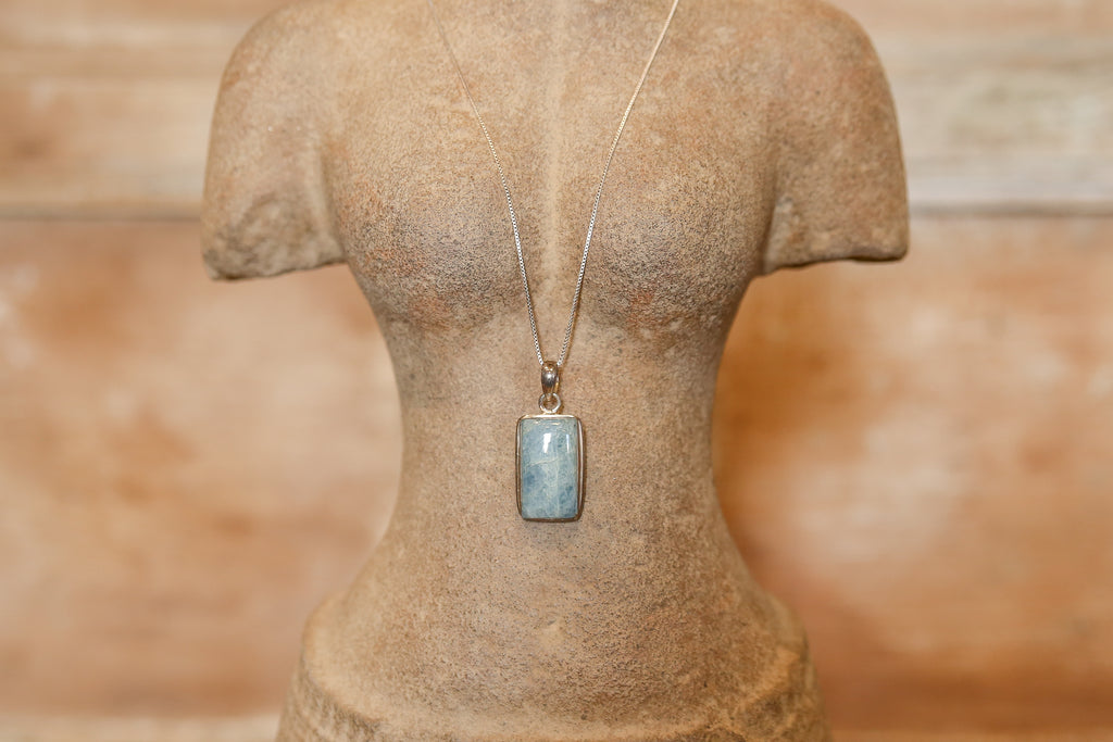 Enchanting Amazonite Pendant with Silver Chain