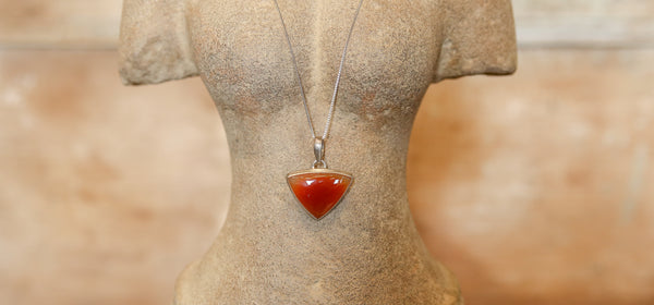 Carnelian Pendant with Silver Chain