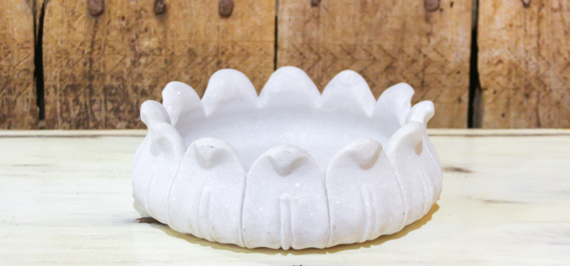Round Marble Open Lotus Bowl