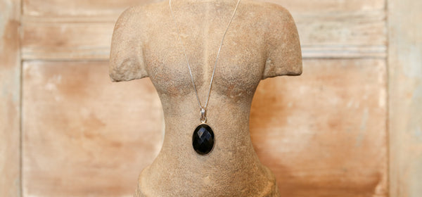 Black Onyx Pendant with Silver Chain
