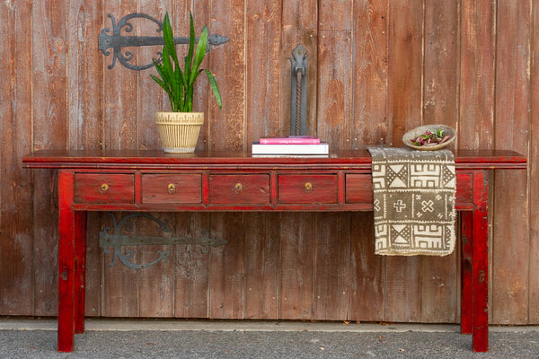 Early 20th Century Red Chinese Console