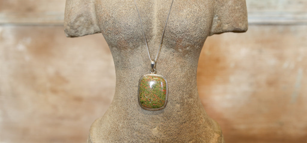 Rhyolite Square Pendant with Silver Chain