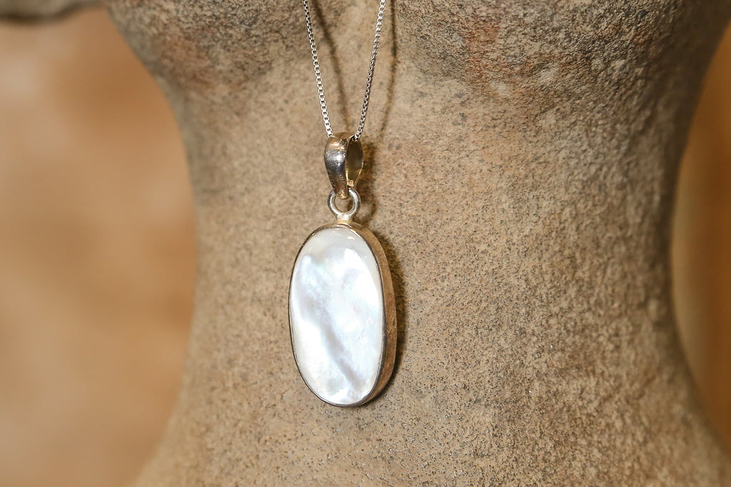 Oblong Mother of Pearl Pendant with Silver Chain