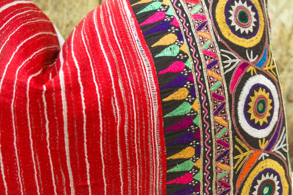 Juli Antique Mashru Tribal Lumbar Pillow