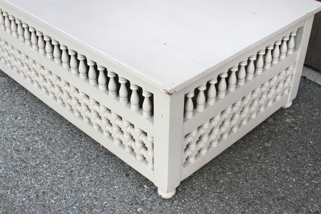 White Mousharabi Moroccan Coffee Table