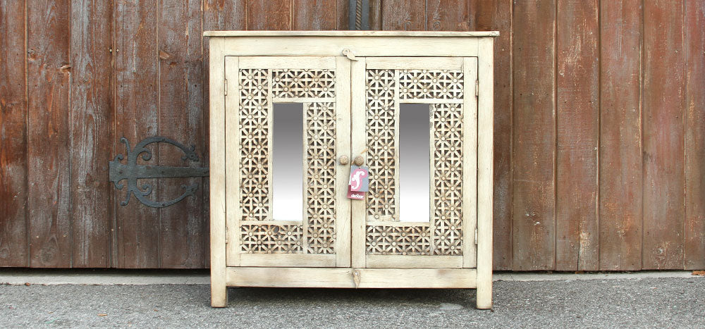 Carved White Cabinet