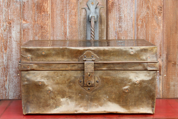 Mid 20th Century Brass Traveling Trunk