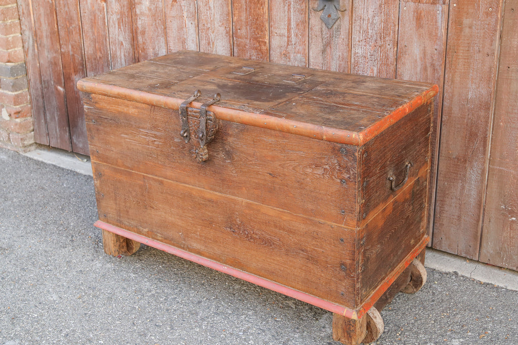 Antique Indian Teak Dowry Trunk