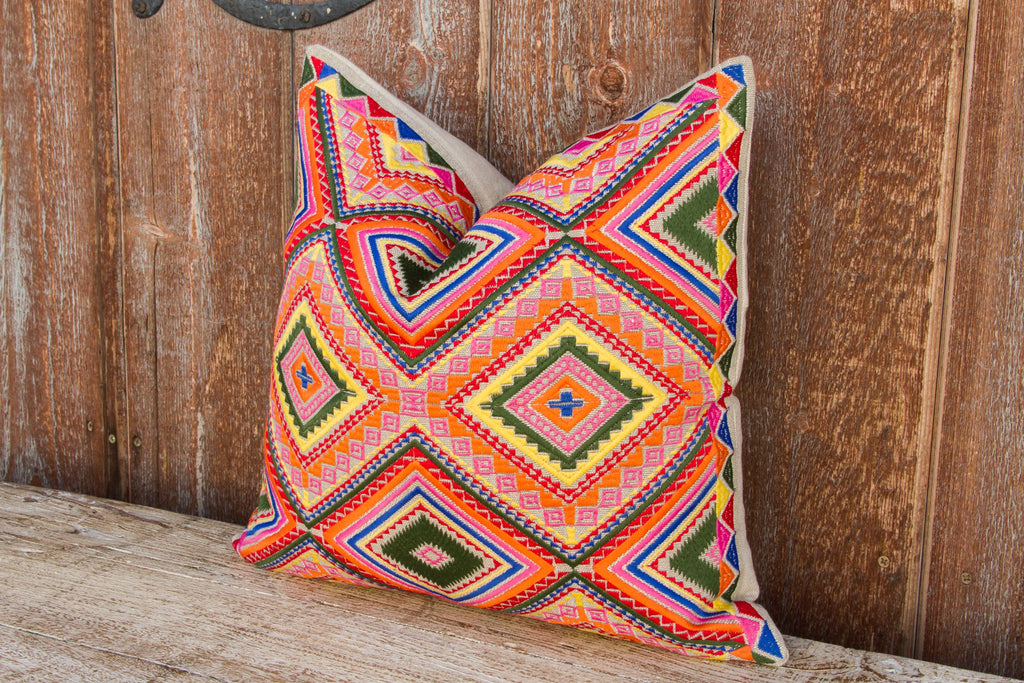 Sarahita Tenejapa Silk Embroidered Pillow (Trade)