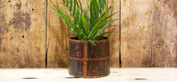 Rustic Painted Barrel Planter