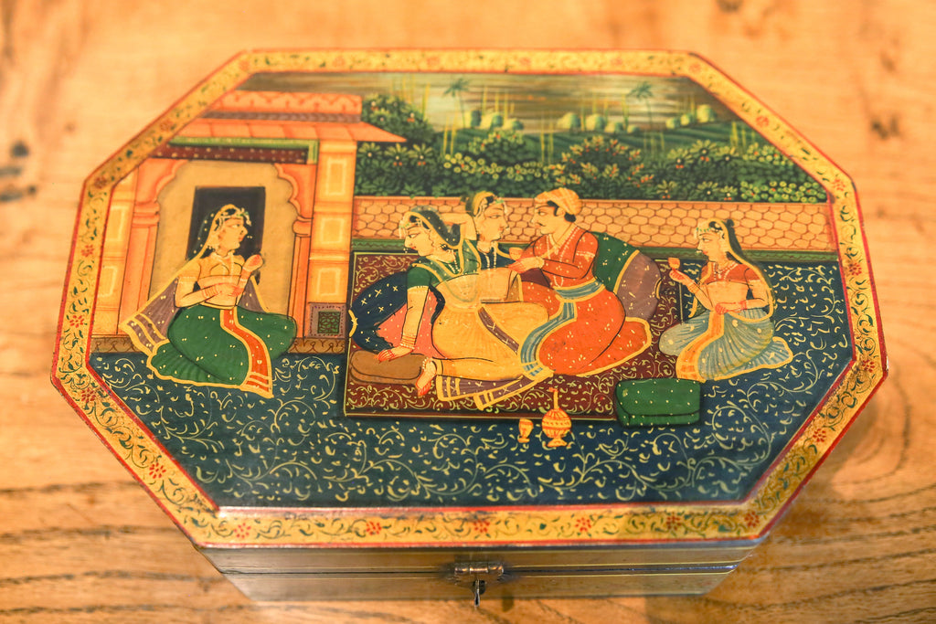 Aged Mughal Painted Trinket Box