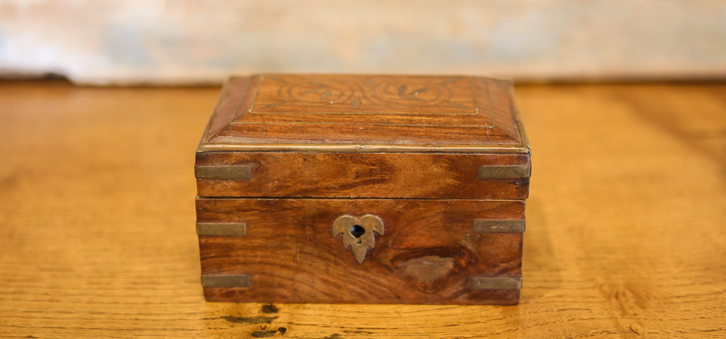 Fine Hardwood Colonial Box With Brass Inlay