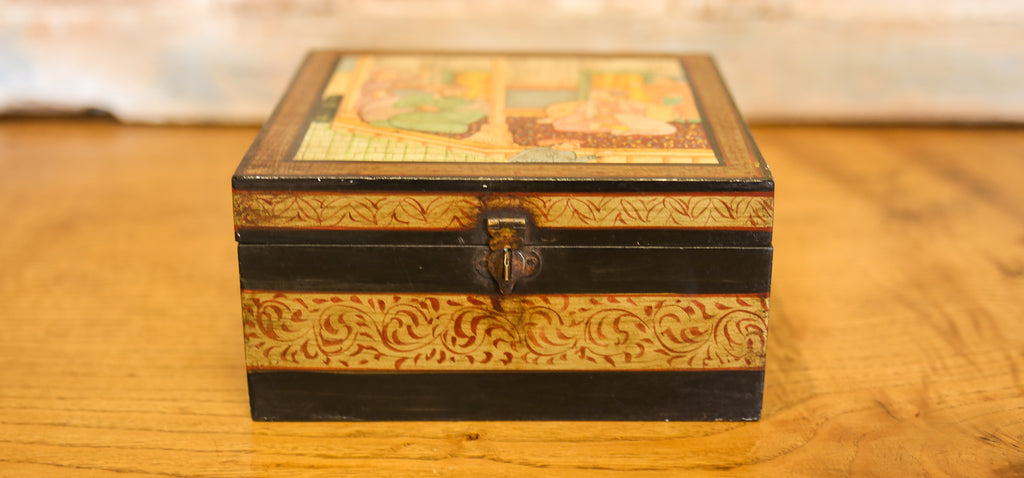 Aged Mughal Hand Painted Jewelry Box