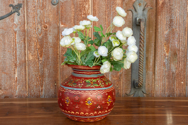 Vintage Round Painted Pot