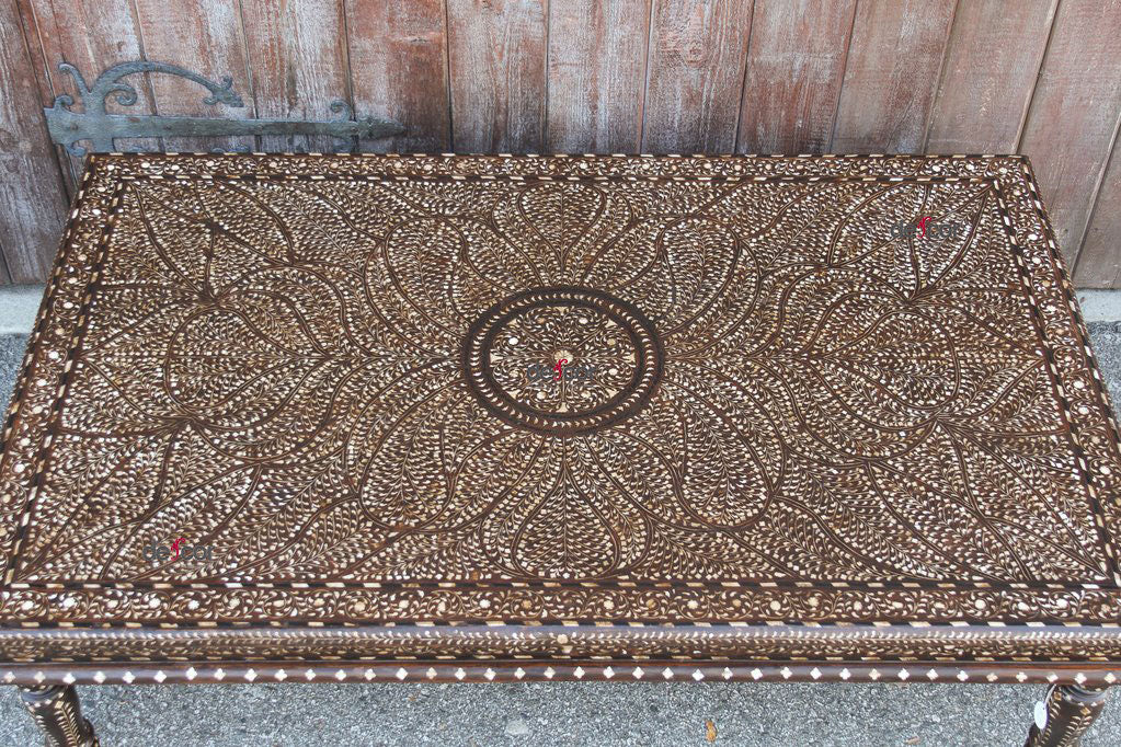 Royal Leaf Bone Inlay Coffee Table