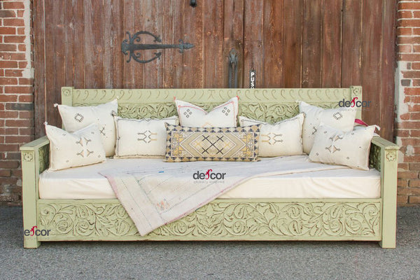 Sage Hand-Painted Floral Carved Daybed