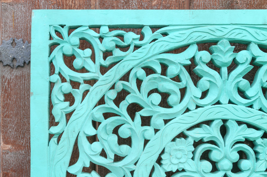 Carved Blue Small Lotus Panel