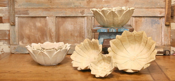 Artisanal Carved Sandstone Bowls, Set of 3