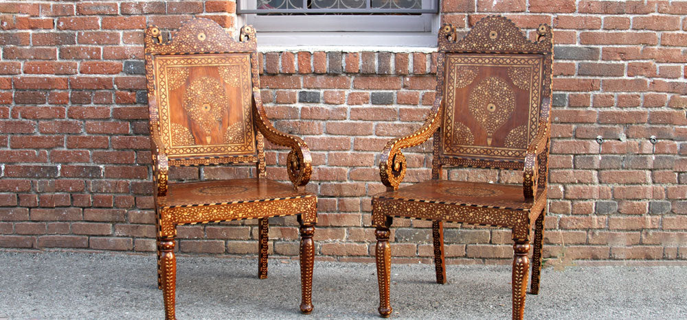 Teak Inlaid Peacock Chairs, Pair