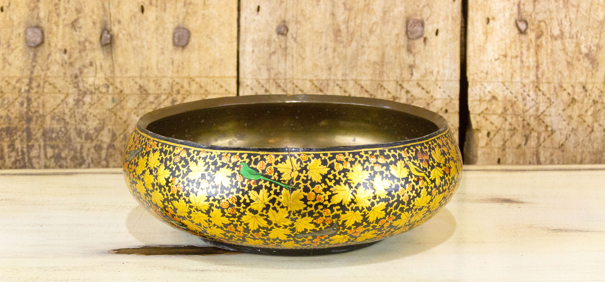 Goldenrod Hand Painted Kashmiri Bowl W/ Brass Lining