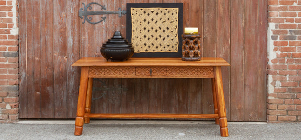 Graceful Carved Tavern Console Table