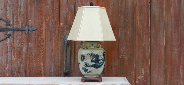 Antique Blue and White Vase Lamp