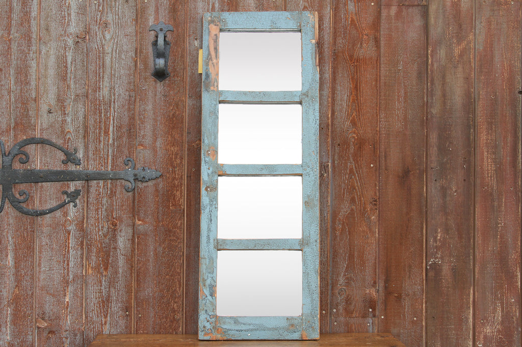 Rustic Blue Paneled Window Mirror