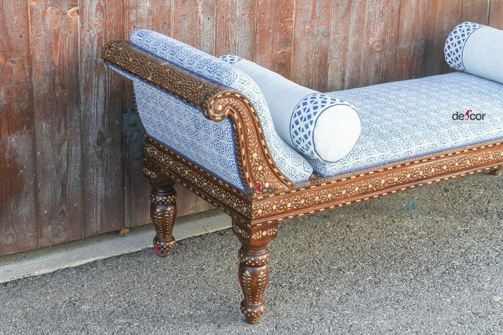Pristine Anglo Indian Bone Inlaid Linen Chaise Lounge